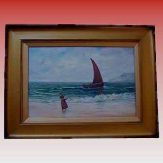 50% Off Sale! Antique Scottish Oil on Canvas Figure in Seascape 19th Century Trongate Scotland Provenance United Kingdom European Landscape