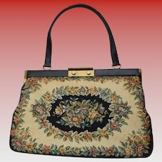 Danish Large Floral Black, Beige & Flowers Tapestry Handbag Made in Denmark