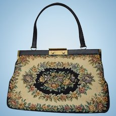 Beautiful Large Spring Floral Black, Beige & Flowers Tapestry Handbag Made in Denmark
