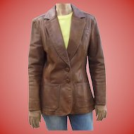 Fab 1970s NYC Oshwahkon Vintage Broadway Brown Leather Ladies Blazer Jacket Size M East West