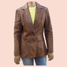 Fab 1970s NYC Oshwahkon Vintage Broadway Brown Leather Ladies Blazer Jacket Size M East West
