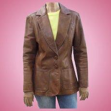 1970s NYC Oshwahkon Vintage Broadway Brown Leather Ladies Blazer Jacket Size M East West