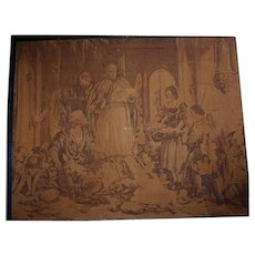 Antique Framed Signed Tapestry after Sir Edwin Lanseer Wall Hanging Classical Scene