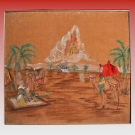 Vintage Orientalist Oil & Acrylic Painting Desert Scene Camels City in Clouds Jerusalem