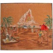 Vintage Orientalist Painting Desert Scene Camels City in Clouds