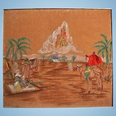 Vintage Orientalist Painting Desert Scene Camels City in Clouds