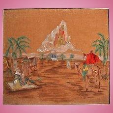 Vintage Orientalist Oil & Acrylic Painting Desert Scene Camels City in Clouds Jerusalem