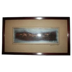 Antique Sheep Pastoral Panoramic Photograph Farm Landscape Scene Signed Dated 1907 - Red Tag Sale Item