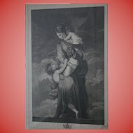 """""""Charity"""" by Facius ~ Oxford University Windows 18th Century Antique Stippel Engraving c1790s London England Museum Worthy"""