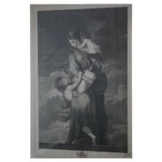 """Charity"" by Facius ~ Oxford University Windows 18th Century Antique Stippel Engraving c1790s London England Museum Worthy"