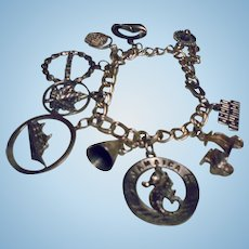 Vintage Sterling Silver Travel Theme Charm Bracelet Cruise Ship St Maarten Jamaice Mexico Chinky 925