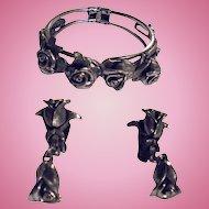 Roses Motiff by Tortoloni Clamper Cuff Bracelet & Earrings Demi Parure