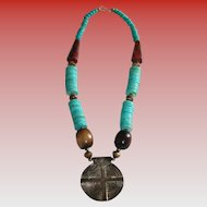 Vintage Etruscan Horn & Trade Bead Pendant Necklace