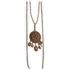 Goldette Victorian Revival Dangling Cameo Pendant Necklace