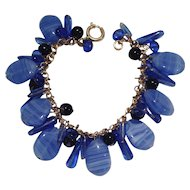 Vintage Poured Blue and Black Glass Beads and Baubles Bracelet Signed GERMANY