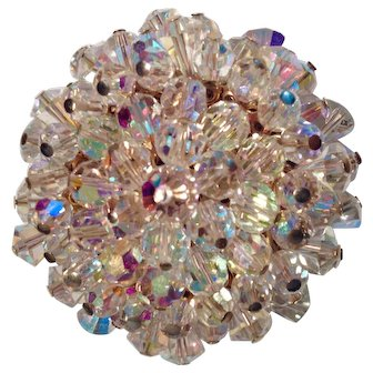 Stunning Alice Caviness Faceted Clear Aurora Borealis Crystal Brooch
