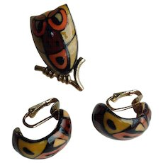 Eisenberg's Picasso Owl Brooch And Earrings, Artists Series Book Piece