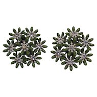 Plastic Green And White Clear Rhinestone Center Flower Earrings