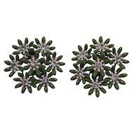 Plastic Green And White Clear Rhinestone Center Flower Earrings