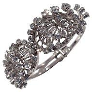 Fabulous Silver Tone and Crystal Rhinestone Clamper Bracelet