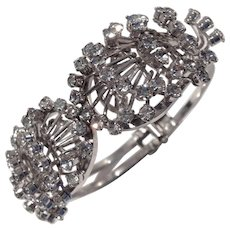 Fabulous Silver Tone and Crystal Rhinestone Clamper Bracelet