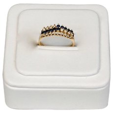Diamond And Sapphire 14K Plumb Yellow Gold Raised Wire Pyramid Ring
