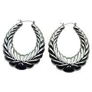 Huge Circa 1970's Silver Tone Leaf Design Pierced Earrings