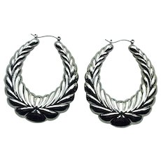Huge Circa 1970's Silver Tone Leaf Design Pierced Earrings