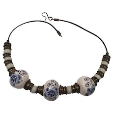 Beautiful Hand Made Ceramic, Glass and Metal Bead Necklace