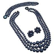 Blue Faux Pearl Parure Signed Japan
