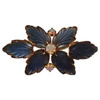 Vintage Translucent Blue Satin Glass, Aurora Rhinestones And Gold Plate Brooch