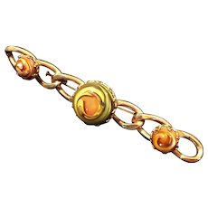 1940's Gold Tone Solid Link Marbled Art Glass Cabochon Bar Pin