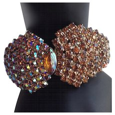 Vintage Awesome Golden Amber and Aurora Borealis Rhinestone Clamper