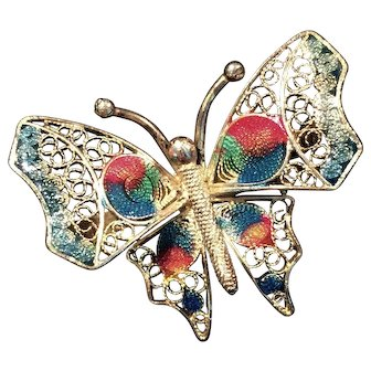 Vintage Filigree And Enamel Butterfly Pin Marked 800