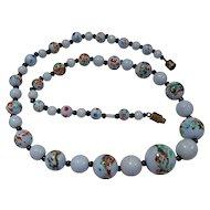 Vintage Handpainted Glass Art Bead Necklace