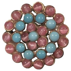 Vintage Pearlized Pink and Turquoise Color Glass Cabochon Pin