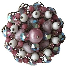 Early Miriam Haskell Beaded Cluster Brooch