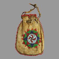 Antique Native American Beaded Whirling Log Pouch