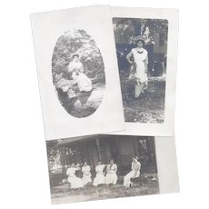 Antique Women RPPCs with Box Camera and Victrola