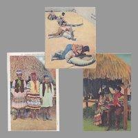 Group of 3 Native American Seminole Postcards
