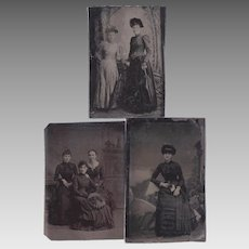 Three Antique High Fashion Women Tin Type Photographs