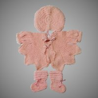 4 Pc. Crocheted Sweater Baby Doll or Infant Set