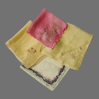 4 Pastel Colored Hankies