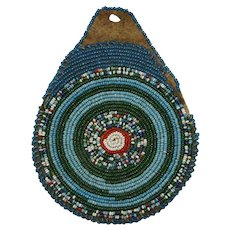 Antique Native American Blackfoot Round Beaded Pouch Bag