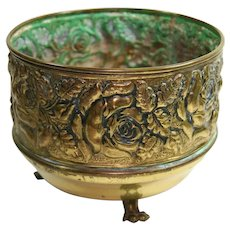 English Brass Rose Pattern Footed Planter