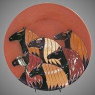 Native American Glen LaFontaine Ceramic Multiple Horse Head Plate