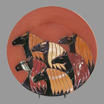 Native American Glen LaFontaine Ceramic Multiple Horse Head Plate