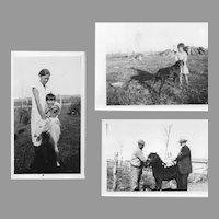 Photographs of N.A. Quapaw Matilda and Alex Beaver with Children and Animals