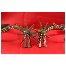 Southwest, Mexican, Cowboy Large Roweled Jingle Bob Spurs With Leathers