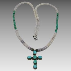 Native American Cross and Hishi Long Necklace